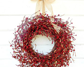 Fall Wreath-Fall Door Wreaths-Red BERRY WREATH-Winter Door Decor-Christmas Wreath-Rustic Home Decor-Holiday Decor-Scented Wreath-Custom Gift