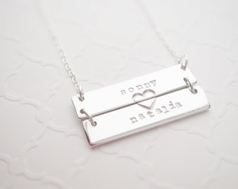 Double Bar Name Necklace Sterling Silver Mom Heart Jewelry