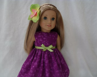18 Inch Doll-American Girl Dress: Purple beach dress and flower hair clips for Lea Clark