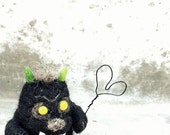 Little felt monster, needle felted, black monster, miniature wool art, black heart, valentines gift, i love you gift, creepy cute monster