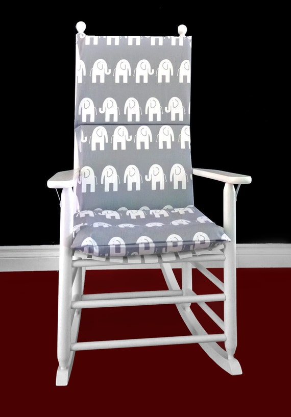 Rocking Chair Cushion Cover Grey White by RockinCushions on Etsy