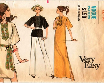 Vintage Vogue Pattern 7808 - Misses Very Easy, One-Piece Tunic or Dress with Jewel Neckline and Front Slit with Button & Loop Closing 12-14