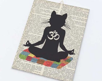 Funny yoga canvas board-Meditating cat yoga on canvas panel-Cat Om wall art-Humor art-Funny cat wall art-by NATURA PICTA CB007