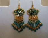 Beautiful Native American Style Beaded Gold and Teal Rose Pierced Earrings Southwestern, Boho, Hippie, Nice Gift Ready to ship