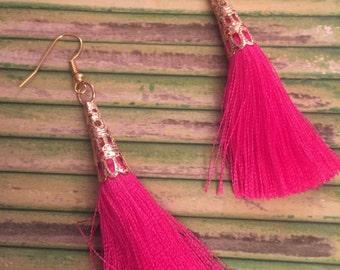 Jewel Tones Tassel Earrings