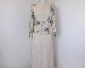 Vintage 1970s cream lace floral long maxi dress wedding bridesmaid size small UK 8 10