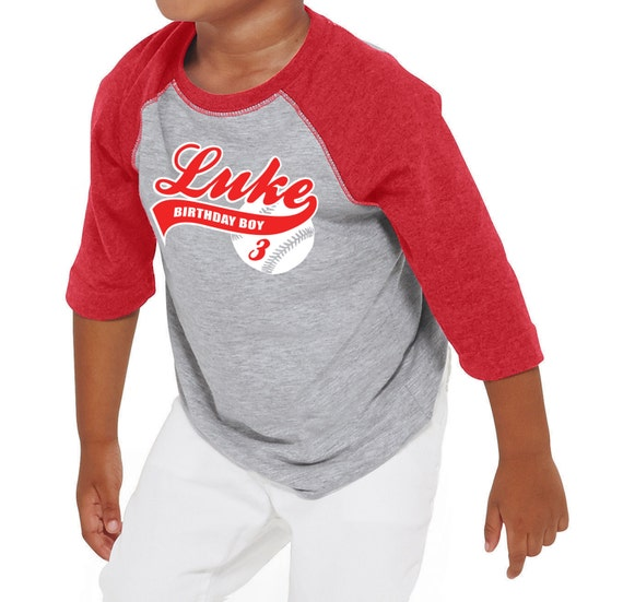 Personalized kids baseball birthday t shirt boys by for Custom raglan baseball shirt
