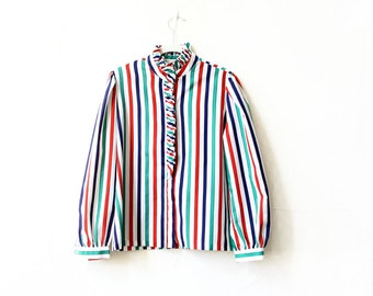 striped ruffle collar long sleeve vintage blouse
