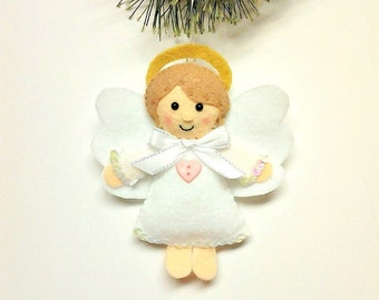 Felt Angel Ornament - Angel Christmas Ornament - White Angel - Christmas Gift - Christmas Ornament