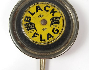 Vintage Black & Yellow Advertising BLACK FLAG Bug Spray Atomizer Bellows Style Metal and Rubber 1930s