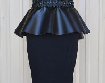High Low High Waist Black FauxLeather Peplum with bling trim waist