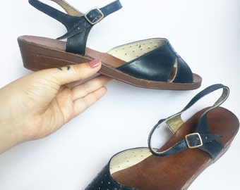 SALE_1940's NAVY BLUE open toe sandals size 6 / 38