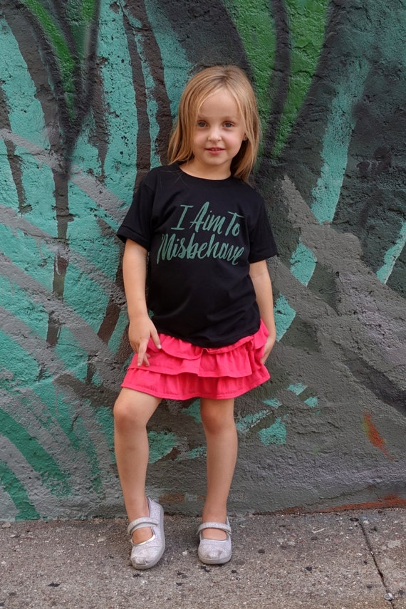 I Aim to Misbehave | Firefly Black Kids Tee