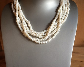 Five strand seed pearl necklace