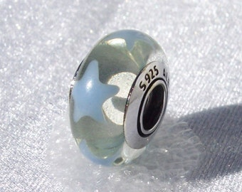Pandora Periwinkle Stars Bead Retired Nautical Beach Murano Glass Discontinued Bracelet Charm FREE SHIPPING