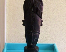 African Statue Mask from Ghana Christmas Gift Tribal Face Bust Sculpture Unique Black Wood Hand Carved Large Ebony Home  Decor