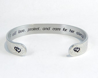 "Mother of the Bride personalized gift - ""I will love, protect, and care for her always."" - 3/8"" hidden message cuff bracelet"