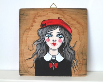 Original painting, acrylic paint, vintage portrait, mime illustration, boho style, parisian mime, vintage style room decor, red beret france