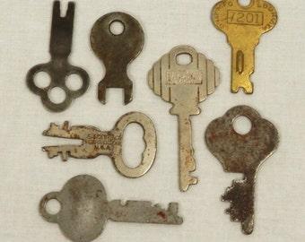 Vintage Collection of Keys 7 Old, Rusty Flat Keys Steampunk Supply Jewelry Mixed Media Art Mixed Key Styles