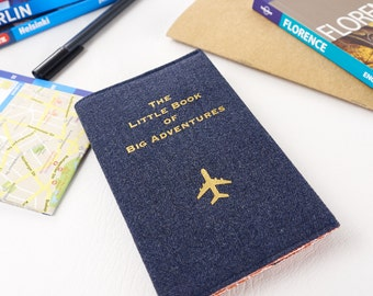 Passport Holder The Little Book of Big Adventures Travellers Gift Fabric Passport Cover Travel Accessory Blue and Gold Lettering