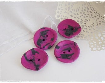 Polymer Clay Buttons, Large Fuchsia Purple Buttons, Gothic Clay Buttons, Purple Buttons, Oversized Abstract Button, Goth Victorian Buttons
