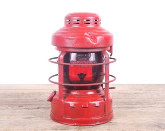 Vintage Embury Luck-E-Lite No.25 Red Globe Side Mount Railroad Lantern / Old Rustic Lantern / Railroad Decor / Vintage Camping Gear