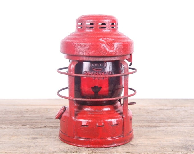 Featured listing image: Vintage Embury Luck-E-Lite No.25 Red Globe Side Mount Railroad Lantern / Old Rustic Lantern / Railroad Decor / Vintage Camping Gear