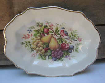 AVON Fruit Plate, Wedgwood Collectible Plate, Vintage 1976, Summer Harvest Plate, Wall Art, Wall Decor, Oval Decorative Plate