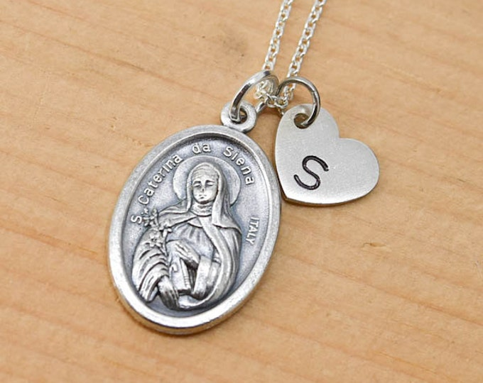 Catherine of Siena Necklace, Charm, Pendant, Initial Necklace, Personalized Necklace, Sterling Silver, Heart Charm Necklace, Bridesmaid Gift