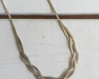 Vintage Braided Sterling Silver Choker Chain Necklace