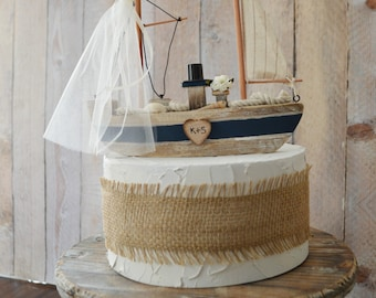 sailboat beach themed wedding destination cake topper bride and groom ivory veil navy blue personalized decorations anchor boat nautical