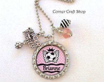 Personalized Name  Pink Soccer Princess Bottle Cap Necklace with  Charm,  Beads  Team favors gift Stocking Stuffer
