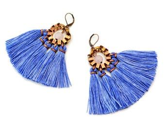 Tassel Earrings, Blue Fringe Earrings, Hippie Earrings, Bohemian Chandeliers, Blue Yarn Earrings, Folk Earrings