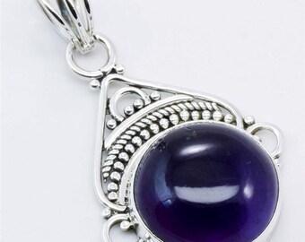 Natural Amethyst Gemstone Pendant in sterling silver