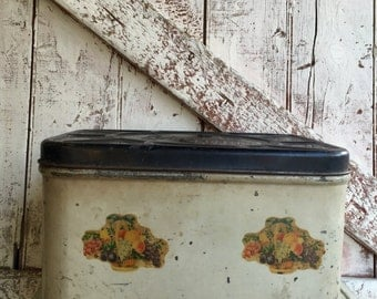 Vintage Metal Bread Bin box white with black lid and fruit decals primitive Empeco can Co