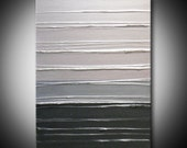 Silver Abstract Painting Metallic Dark Light Grey Gray Pearlescent White Sculptural Acrylic 18x24 High Quality Original Fine Art