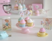 Sweet Petite Play Scale Cupcakes with Vintage Cupcake Toppers