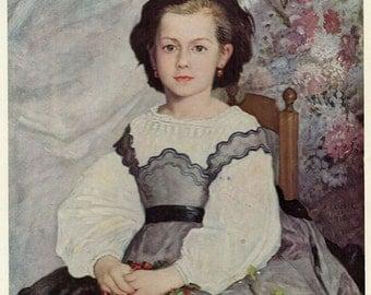 Antique Print, 1952 Renoir Mademoiselle Romaine Lacaux, 1864, wall art vintage color lithograph illustration historical painting chart