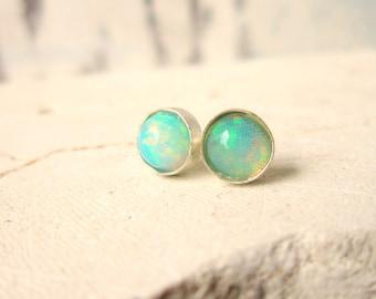 Opal Earrings. Opal Stud Earrings. Opal Post Earrings. Round 6mm Genuine Opal Jewelry.October Birthstone Earrings.October Birthstone Jewelry