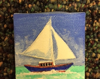"Miniature Sailboat Canvas 2"" x 2"""