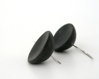 Black  minimalist clay dome earrings modern eco friendly geometric round  medium long air dry clay organic form contemporary sterling silver