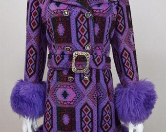 Vintage 1960's 70's AzTeC Carpet TaPeStrY Purple SHEARLING TriMMeD HiPPiE BoHo Coat M