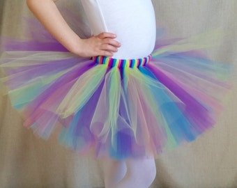 Hot Pink Lime Turquoise and Purple Tutu, Multicolor Tutu, Birthday Party Outfit, Baby Shower, Toddler Tulle Skirt, Baby Tutu