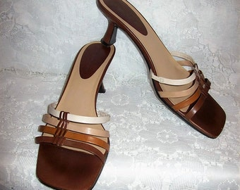 Vintage Ladies Brown Leather Sandals Slides by Bandolino Size 8 1/2 Only 8 USD