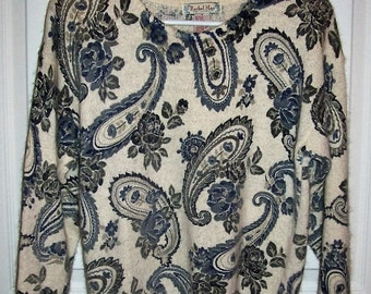 Vintage Ladies Paisley Silk Angora Blend Sweater by Rachel Max Small Only 7 USD