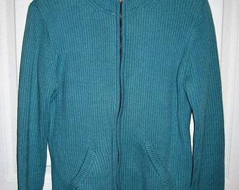 Vintage Ladies Blue Zip Front Cardigan Sweater Lauren by Ralph Lauren Medium Only 7 USD