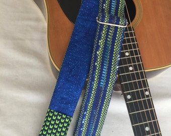 Blue Green Guitar Strap   Guitar Accessory   Handwoven Guitar Strap   Gift For The Guitarist   Acoustic Or Electric Guitar Strap   Musician