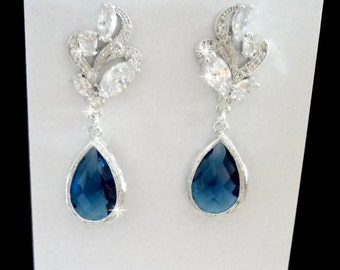 Sapphire Blue earrings - Cubic Zirconia's - Blue Czech glass - Something Blue - Bridal earrings - September Birthstone - Elegant jewelry -