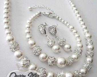 Pearl jewelry set - Swarovski pearls and crystals ~ 3 piece set ~ Pearl Bracelet, Earrings,Necklace - Bridal jewelry set ~ TOP SELLER