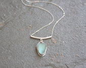Sea glass necklace, sea glass pendant, sea glass jewelry, sterling silver sea glass necklace, bezel set, sterling silver, blue, sea glass